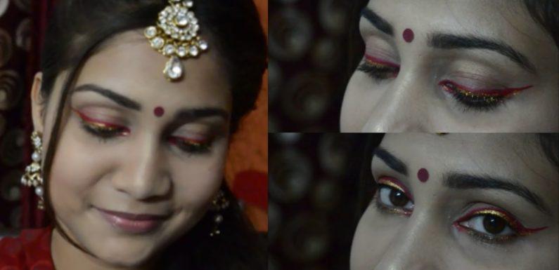 Simple n Elegant Mehandi/Sangeet Makeup Look | Red Eyeliner | Be A Bride #2