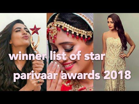 Winner list of star parivaar awards 2018 StarParivaarAwards2018 SPA2018 StarPlus Dance