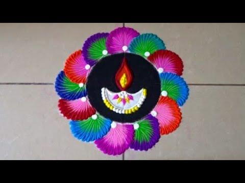 Easy and attractive diya rangoli for diwali | Easy rangoli designs by Poonam Borkar