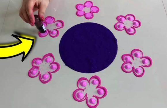 Easy and colourful Diwali special Rangoli designs 2018 | Flower Rangoli Design using Chalni Fevigum