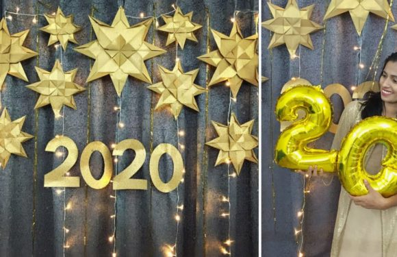 Easy Party Decoration for New year at home | Paper Star Backdrop | Easy new year party decoration